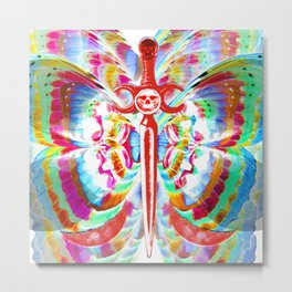 Gothic Rainbow Butterfly Metal Print
