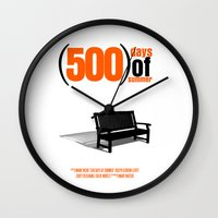 500 days of summer Wall Clocks featuring 500 Days Of Summer by FunnyFaceArt