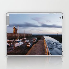 Boats in Lynmouth Harbour at dawn twilight. Devon, UK. Laptop & iPad Skin