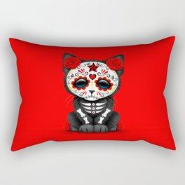 Cute Red Day of the Dead Kitten Cat Rectangular Pillow