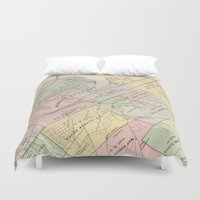 oakland Duvet Covers featuring Vintage Map of Oakland California (1878) by BravuraMedia