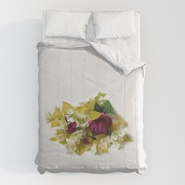 Golden Mock Orange and Pink Peonies Comforters