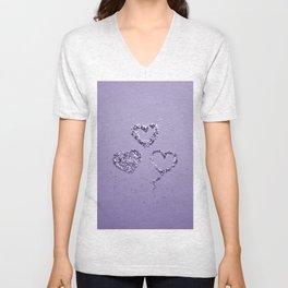 Ultra Violet LOVE Glitter Hearts #1 #shiny #decor #art #society6 Unisex V-Neck