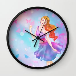 Colorful Butterfly Girl Wall Clock