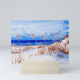 Sea oats at the beach Mini Art Print