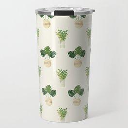 Modern ivory green tropical cheese monster leaves floral Travel Mug