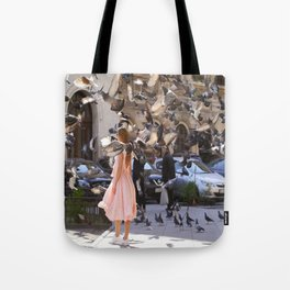 The Girl with Doves Tote Bag