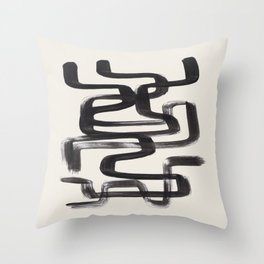 Mid Century Modern Minimalist Abstract Art Brush Strokes Black & White Ink Art Pipe Maze Throw Pillow