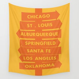 City signpost route 66 locations Wall Tapestry