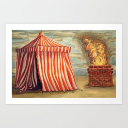 Circus Tent and Fire Art Print
