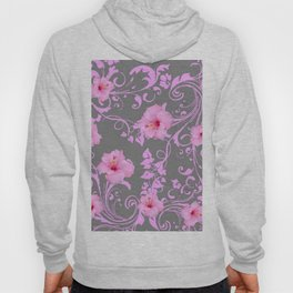 DECORATIVE  PINK AMARYLLIS BROCADE FLORAL GREY ART Hoody