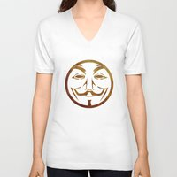 anonymous V-neck T-shirts featuring Anonymous by Spooky Dooky