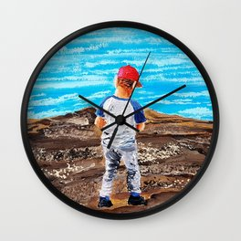 Sometimes he walks through the shore with his ret hat. Wall Clock