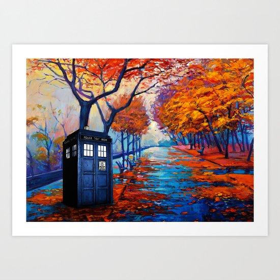 Tardis Autumn Alley Art Print