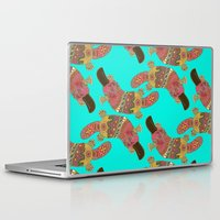 platypus Laptop & iPad Skins featuring duck-billed platypus turquoise by Sharon Turner