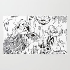 rabbits and flowers parties Rug
