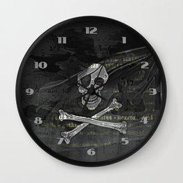 Vintage Skull Pirates Flag Wall Clock