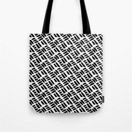 Black + White Brushwork Tote Bag