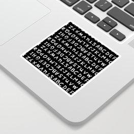 ABC White on Black Sticker