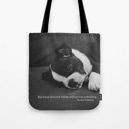 Puppy Love Rudyard Kipling Quote Tote Bag