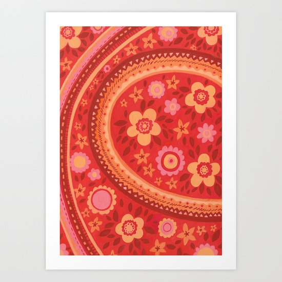 Bright Red Flowers Art Print
