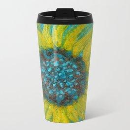 Sunflowers on Turquoise II Metal Travel Mug