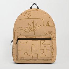 saguaro cactus line drawing –peach Backpack