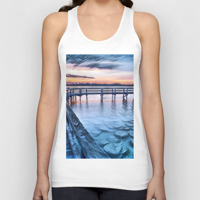 Dock on the River (Sunset) Unisex Tank Top