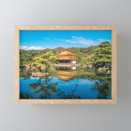 The Golden Pavilion located in a beautiful Japanese Zen Garden in Kyoto. Framed Mini Art Print