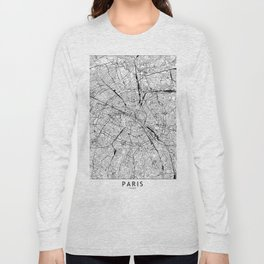 Paris White Map Long Sleeve T-shirt