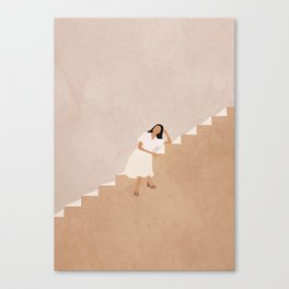 Girl Thinking on a Stairway Canvas Print