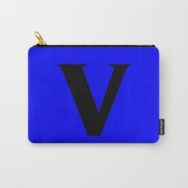 v (BLACK & BLUE LETTERS) Carry-All Pouch