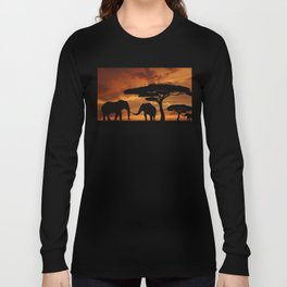 African elephants silhouettes in sunset Long Sleeve T-shirt
