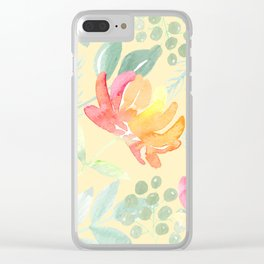 Peachy Watercolor Peony Pattern Clear iPhone Case