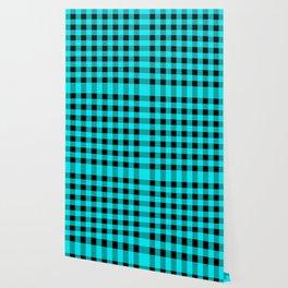 Blue Topaz and Black Check Wallpaper