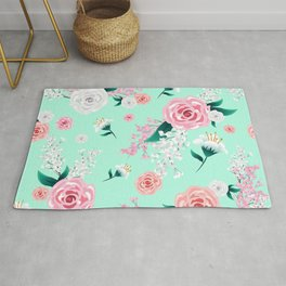 Mint Floral Peony and Blossoms Print Rug