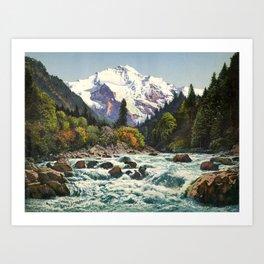Mountains Forest Rocky River Kunstdrucke