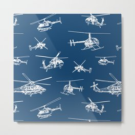 Helicopters on Navy Metal Print
