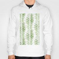 herringbone Hoodies featuring Herringbone Green Nature Pattern by Maioriz Home