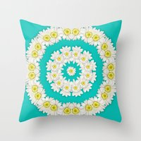 coasters Throw Pillows featuring White Daisies on Turquoise Background by Lena Photo Art