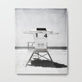 Black and White Beach Photography, Grey Lifeguard Stand, Gray Coastal Nautical Art Metal Print