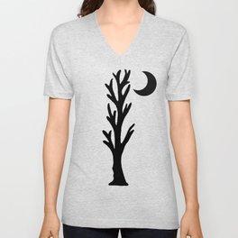 Barren Black Tree Silhouette Stars Crescent Moon Orange Unisex V-Neck
