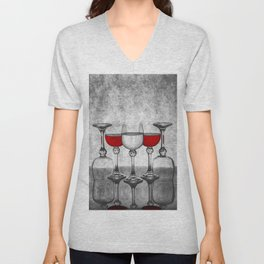 Still life with glass glasses with wine Unisex V-Neck