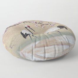 Cranes Under Cherry Tree Floor Pillow