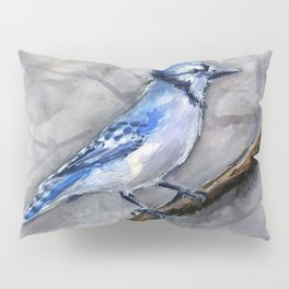 Blue Jay Watercolor Bird Pillow Sham