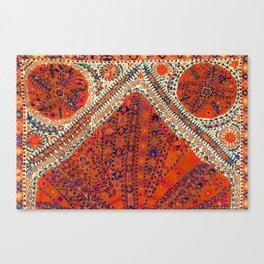 Orange Wildflower Sunshine III // 18th Century Colorful Rusty Red Bright Blue Metallic Happy Pattern Canvas Print