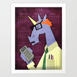 Accountant Unicorn Art Print