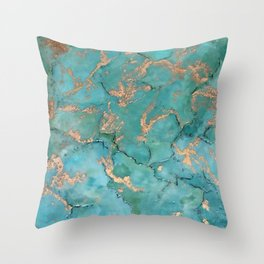 Turquoise and Gold - original painting by Tracy Sayers Trombetta Throw Pillow