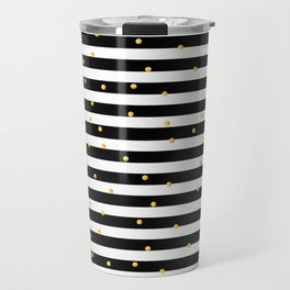 Modern black white gold polka dots striped pattern Travel Mug