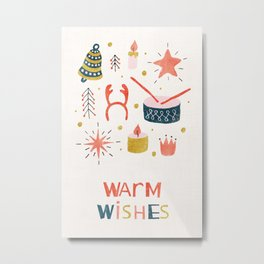 Christmas Card with Toys Metal Print